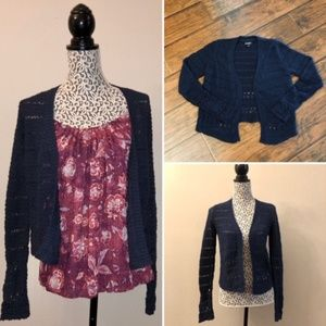 Lucky Brand Open Front Navy Crochet Knit Cardigan